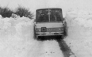 Schulbusfahrt zwischen Stenderup und Westerstenderup Mitte Januar 1979